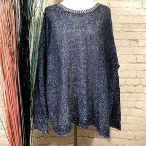 Eileen Fisher Women's Navy Blue Knit Sweater Top M